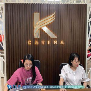 backdrop chu inox van phong cavina